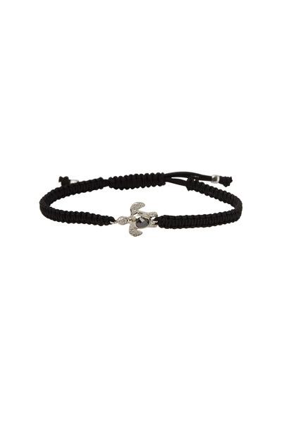 Kimberly McDonald - White Gold Turtle Black Macrame Bracelet