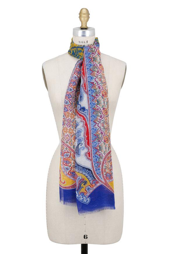 Etro Linen Multicolor Paisley Linen & Silk Scarf