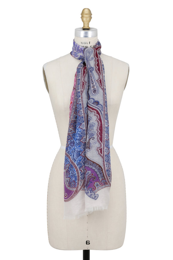 Etro Multicolor Linen & Silk Paisley Scarf