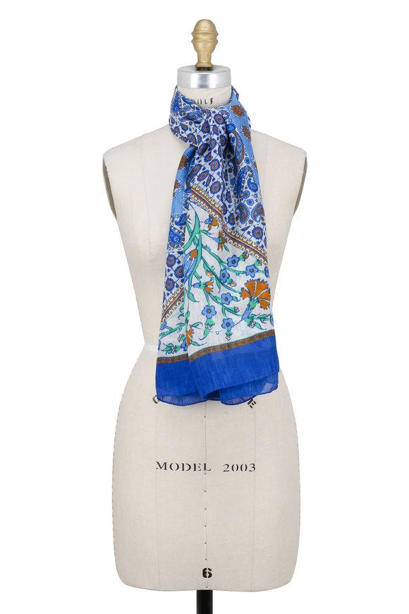 Etro Blue & White Bombay Bold Floral Scarf