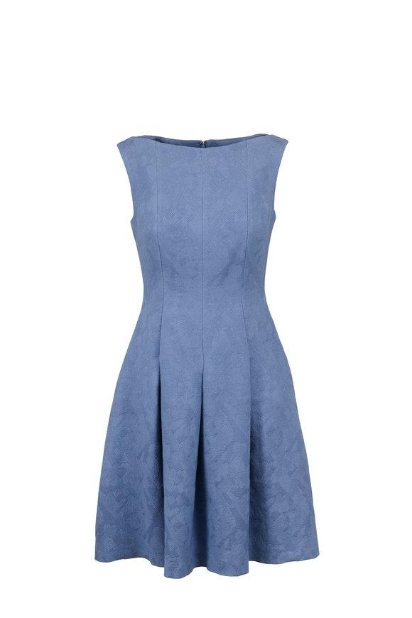 Talbot Runhof Portico-2 Light Blue Jacquard Fit & Flare Dress