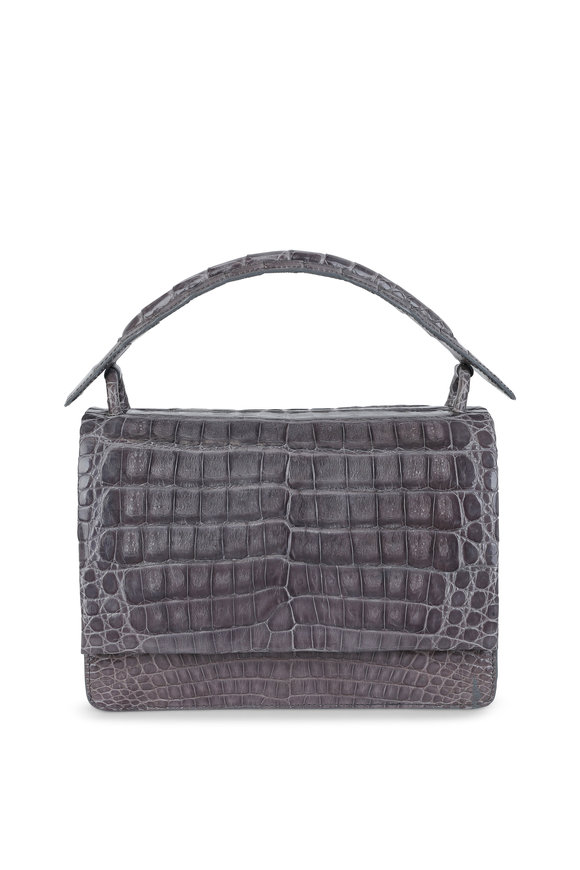Nancy Gonzalez Gray Crocodile Convertible Top Handle Bag