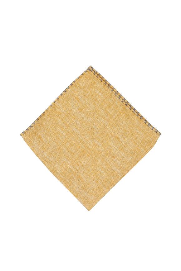 Brunello Cucinelli Yellow Silk Blend Pocket Square