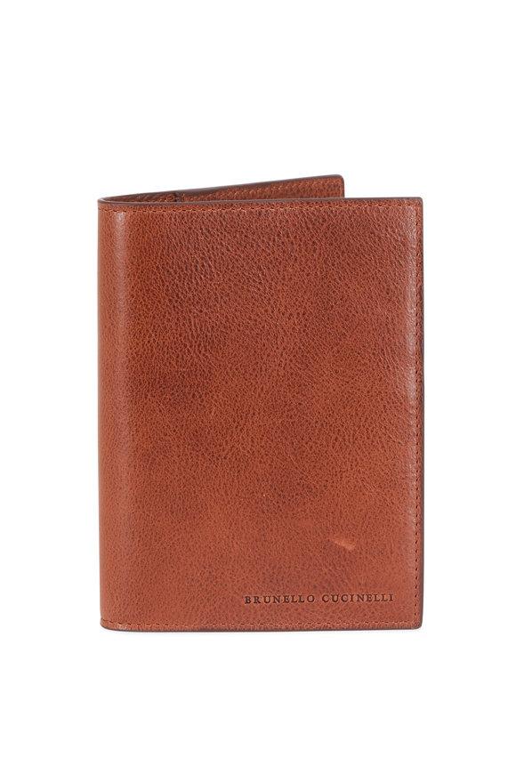 Brunello Cucinelli Brown Leather Passport Holder