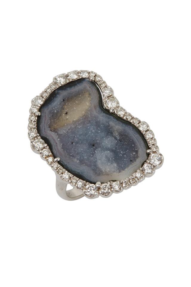 White Gold Gray Geode Diamond Ring
