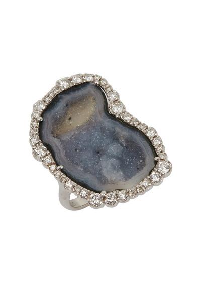 Kimberly McDonald - White Gold Gray Geode Diamond Ring