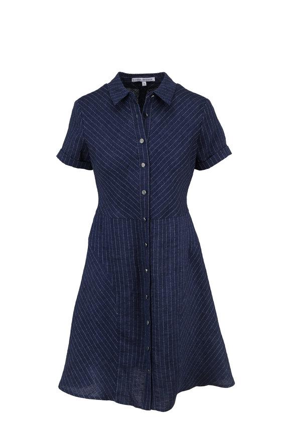 Donna Degnan Dark Blue Striped Linen Short Sleeve Shirt Dress