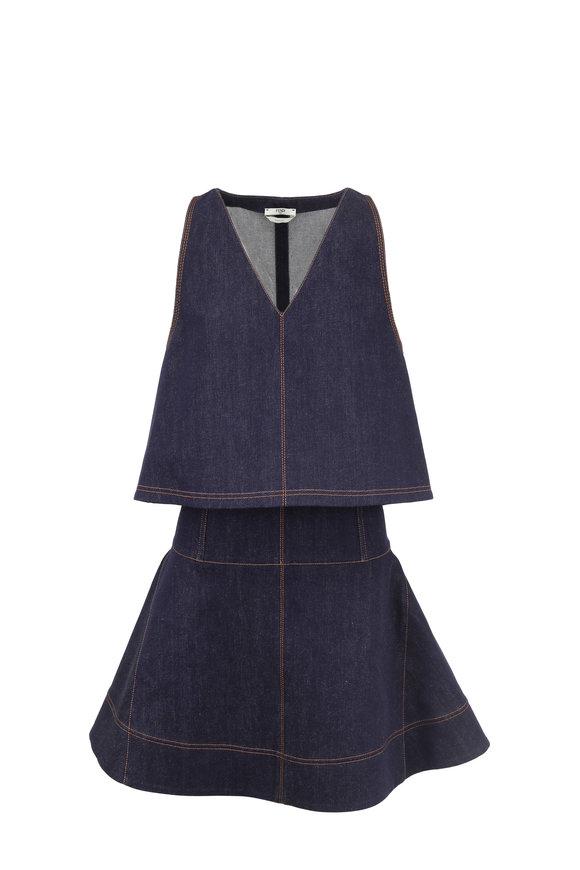 Fendi Denim Bustier Dress With Detachable Cape