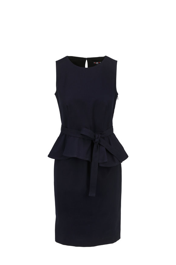 Paule Ka Marine Navy Sleeveless Peplum Dress