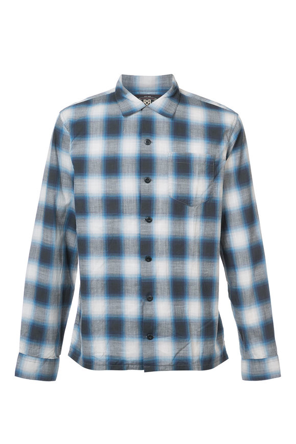 RRL Blue Arrow Poplin Ombre Sport Shirt