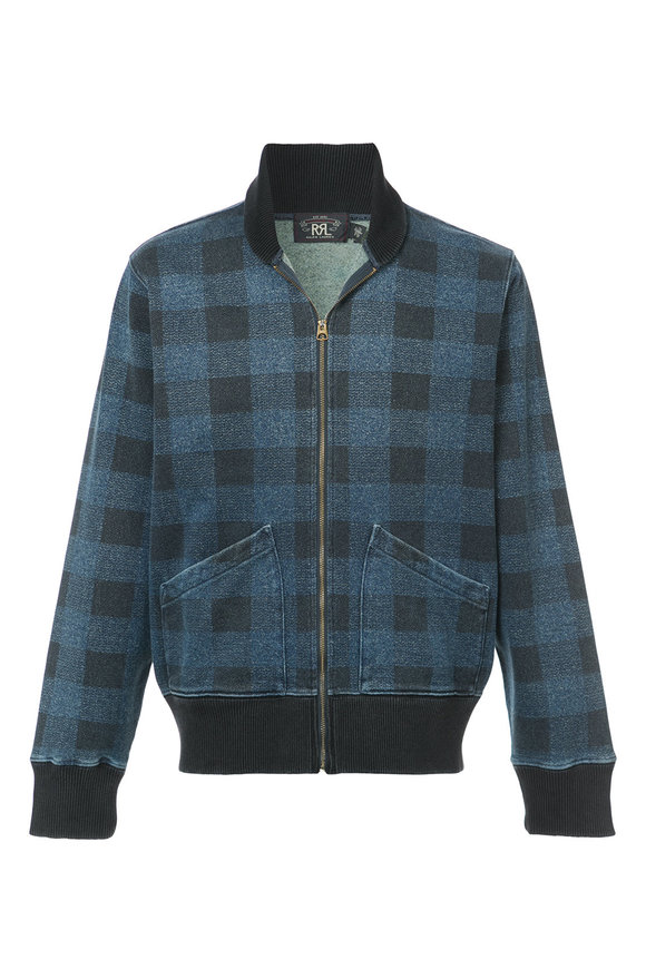 RRL Indigo Plaid Zip-Up Jacket