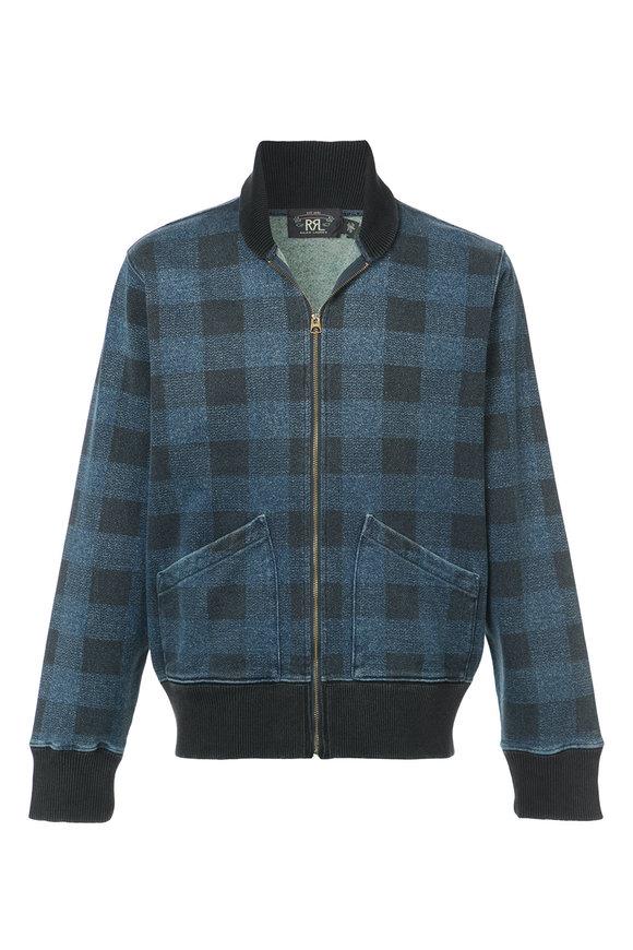 RRL Indigo Plaid Zip-Up Jacket