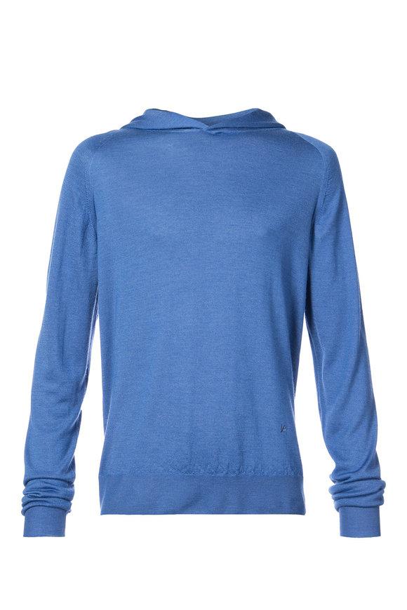 Isaia Blue Cashmere & Silk Pullover Hoodie