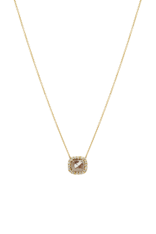 Gold Natural & White Diamond Pendant Necklace