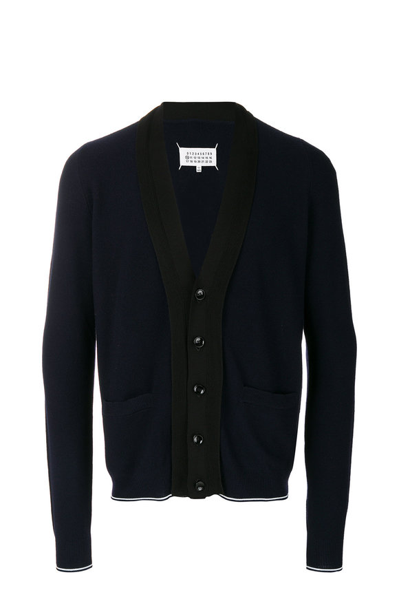 Maison Margiela Navy & Black Pique Stitch Cardigan