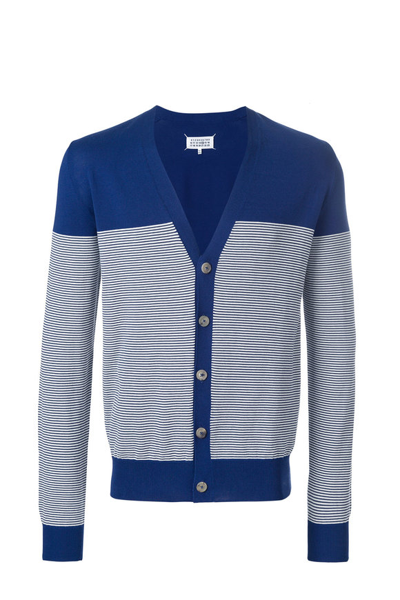 Maison Margiela Blue & Ecru Striped Cardigan
