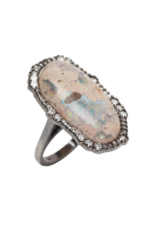 White Gold Mexican Fire Opal Diamond Ring