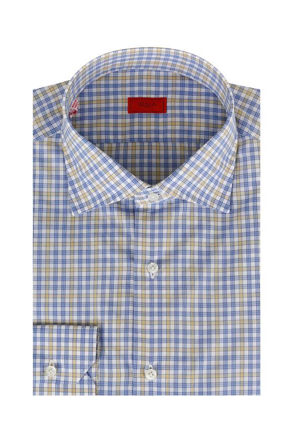 Isaia  Blue & Yellow Check Dress Shirt