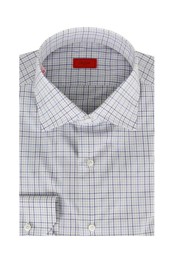 Isaia Blue & Gray Plaid Dress Shirt