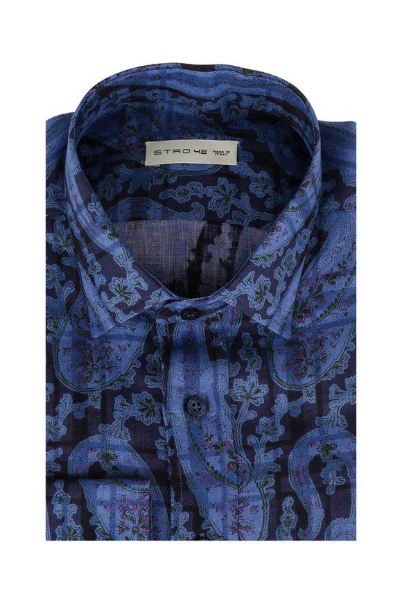 Etro Navy Blue Paisley Linen Sport Shirt