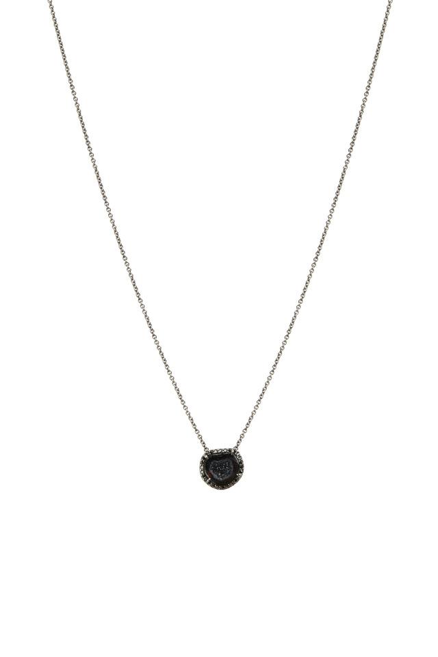 White Gold Black Geode Diamond Pendant