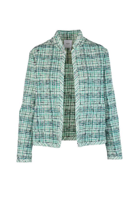 Agnona Emerald Tweed Open Front Jacket