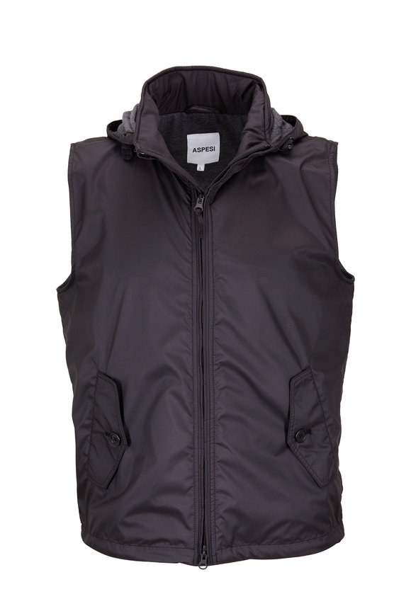Aspesi Black Microfiber Hooded Vest