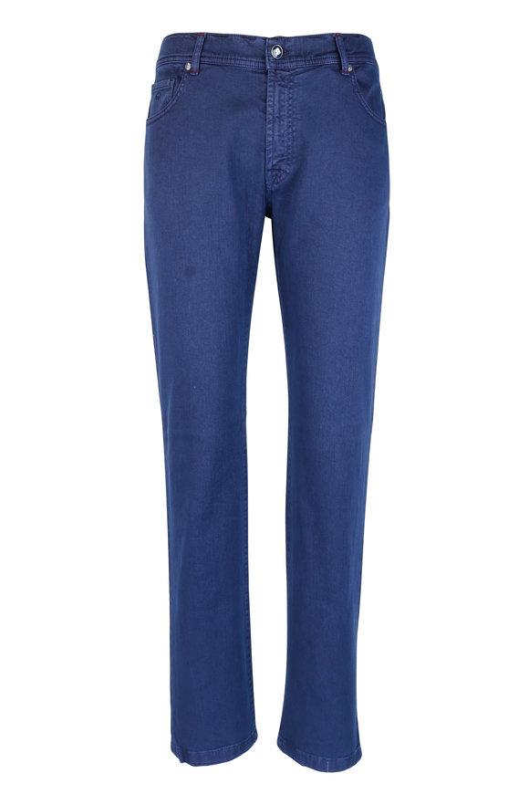 Marco Pescarolo Blue Stretch Cotton Five-Pocket Pant