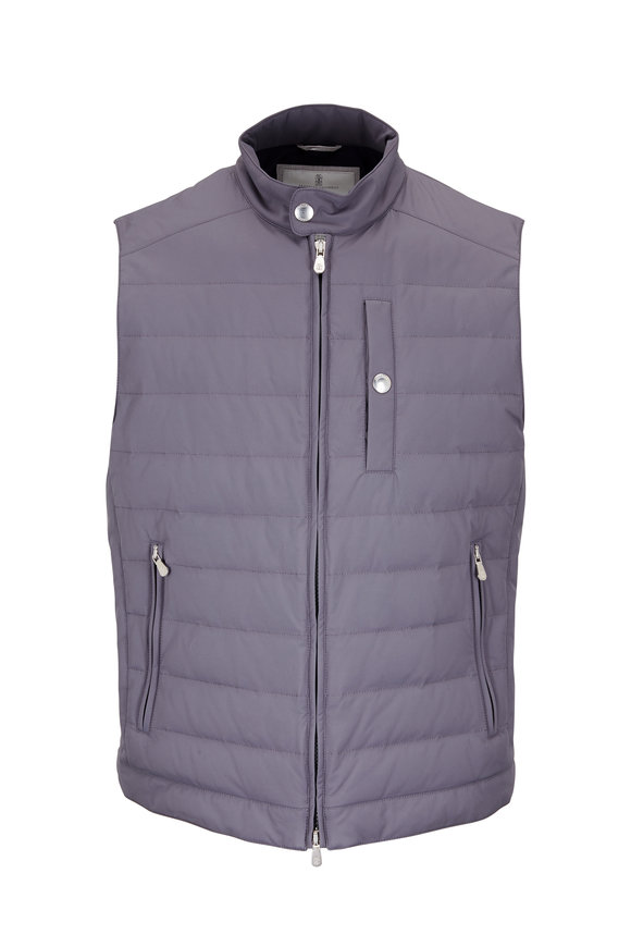 Brunello Cucinelli Gray Quilted Puffer Vest
