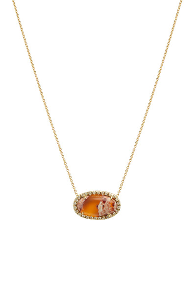 Kimberly McDonald - Yellow Gold Fire Opal Diamond Pendant