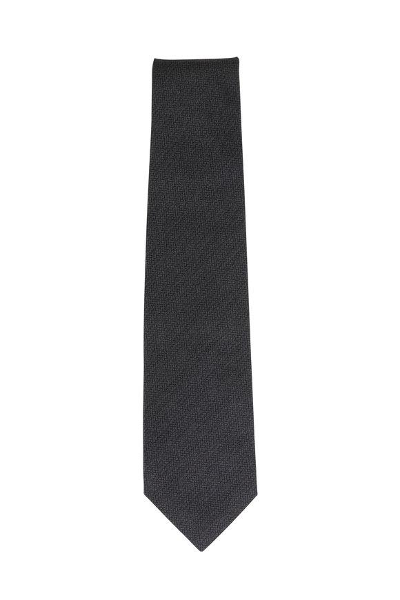 Isaia Charcoal Gray Textured Silk & Cotton Necktie