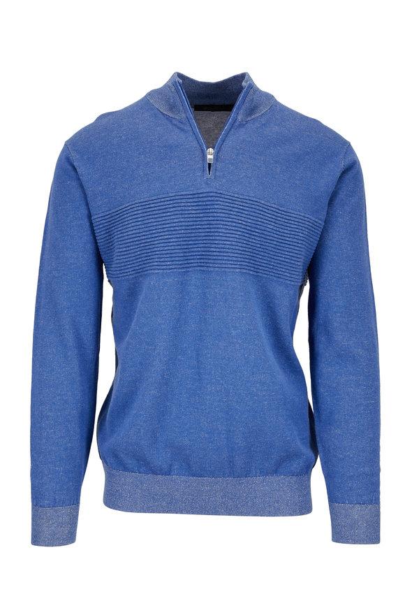 Raffi  Denim Blue Ribbed Detail Quarter-Zip Pullover