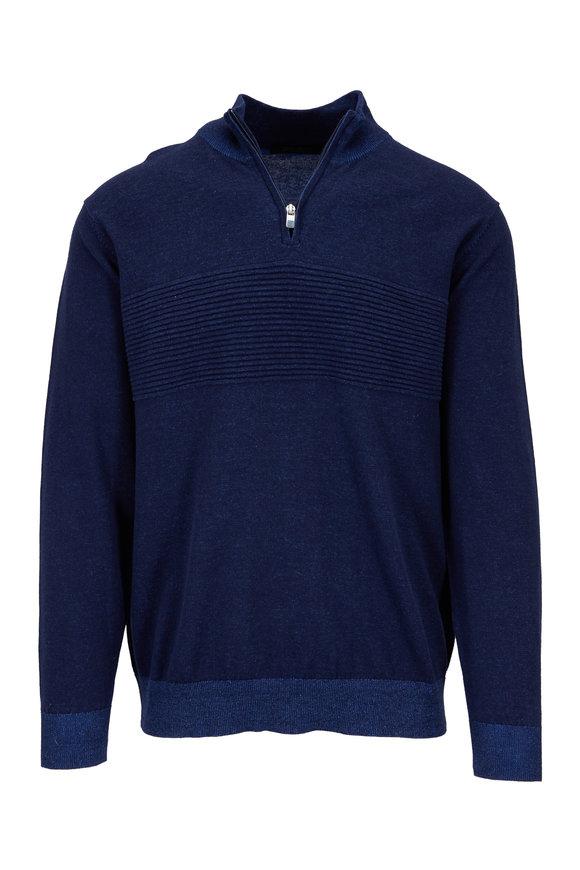Raffi  Navy Blue Ribbed Detail Quarter-Zip Pullover