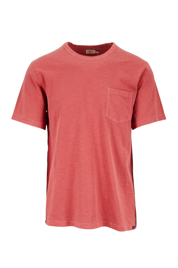 Faherty Brand Sunwashed Red Cotton T-Shirt
