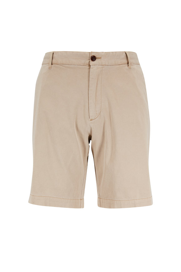 Faherty Brand Khaki Stretch Cotton Shorts
