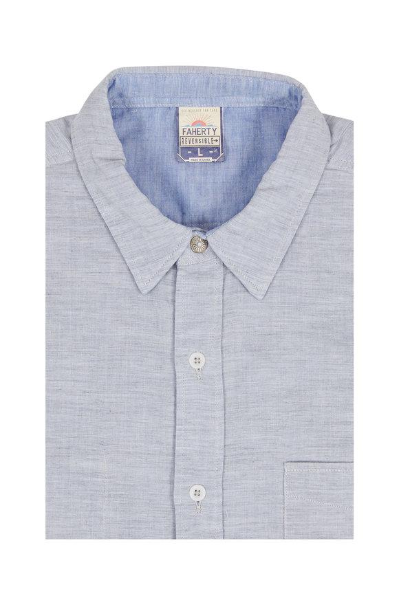 Faherty Brand Belmar Gray & Blue Reversible Sport Shirt