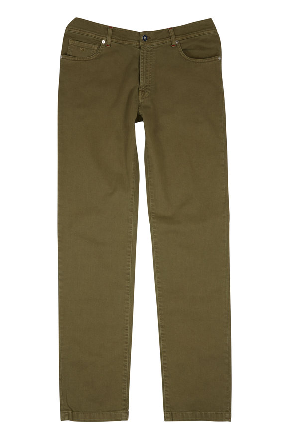 Marco Pescarolo Olive Green Stretch Cotton Five-Pocket Pant