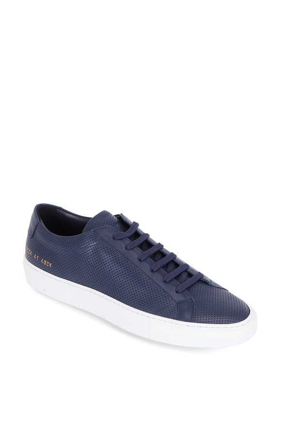 Common Projects Achilles Navy Blue Perforated Leather Low Sneaker