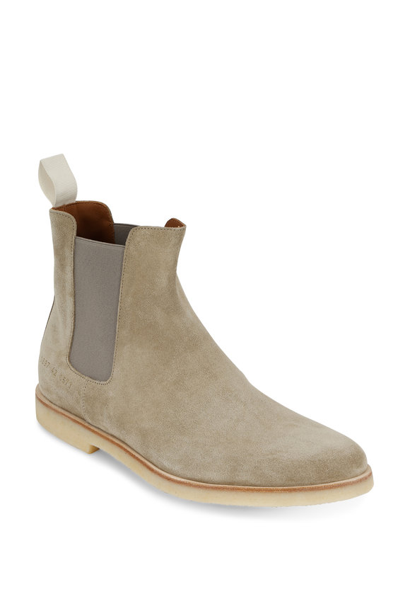 Common Projects Light Gray Suede Chelsea Boot