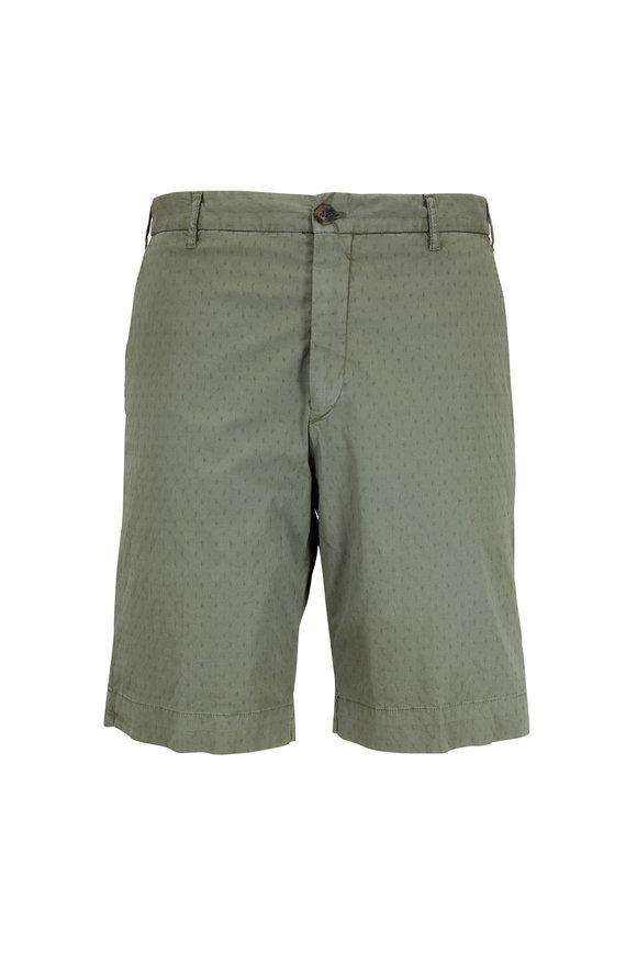 JW BRINE Olive Green Jacquard Shorts