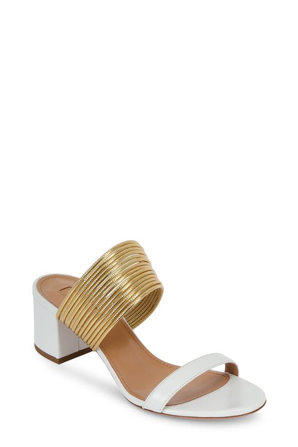 Aquazzura Rendez Vous White & Gold Slide, 50mm