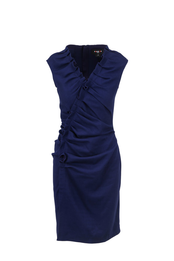 Paule Ka Purple Stretch Piquè Sleeveless Dress
