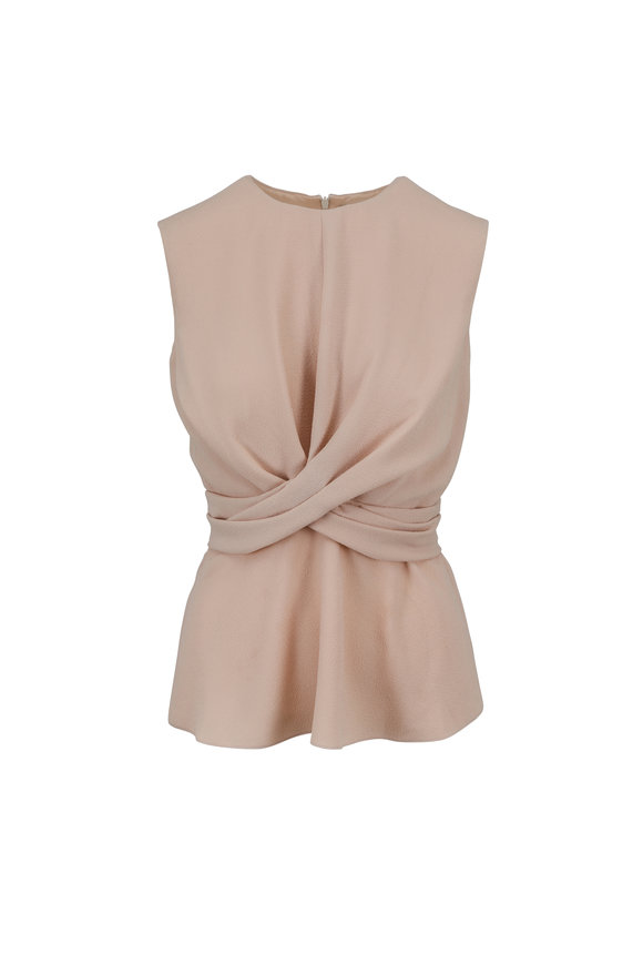 Partow Nude Pebbled Crepe Front Knot Top