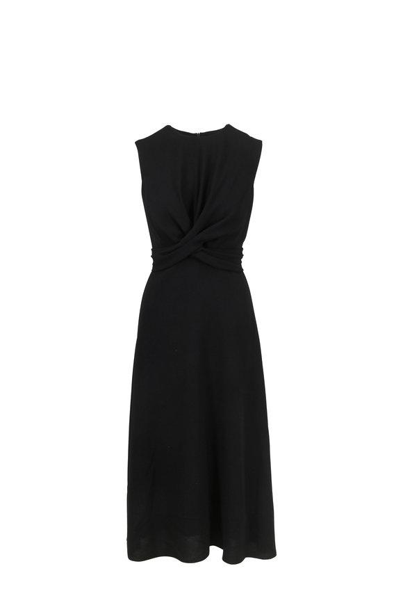 Partow Black Pebbled Crepe Knot Front Dress