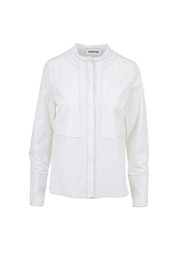 Partow White Brushed Cotton Contrast Trim Blouse