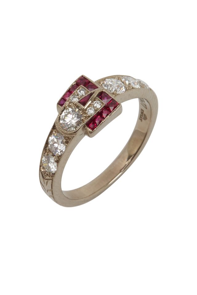 White Gold Ruby Diamond Buckle Ring