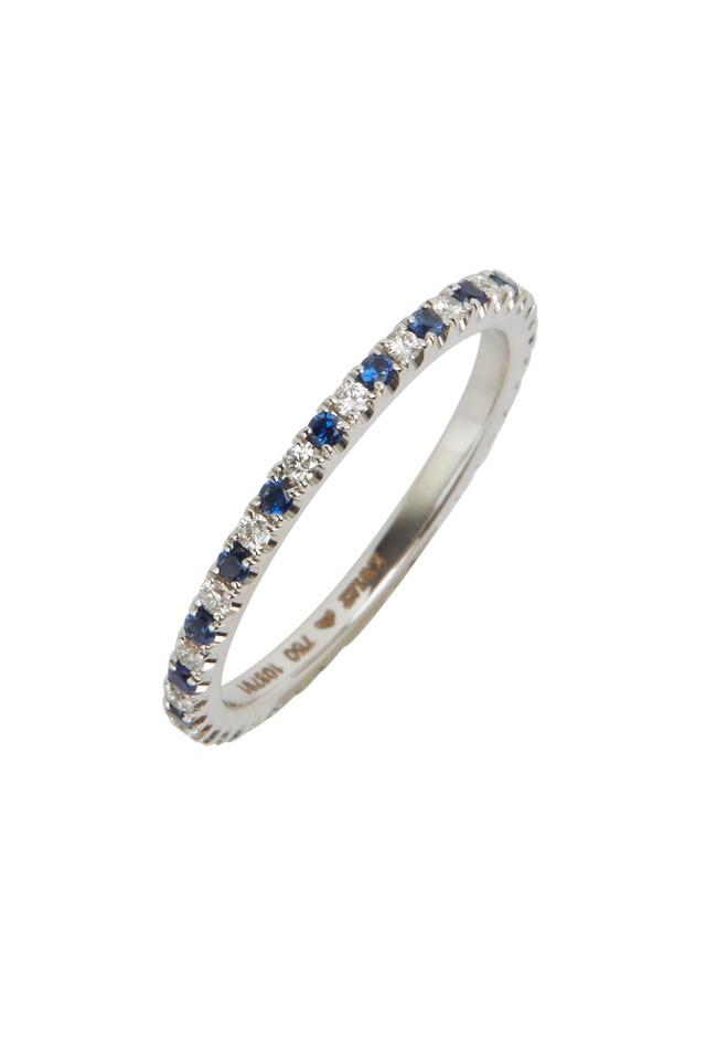 White Gold Blue Sapphire White Diamond Stack Ring