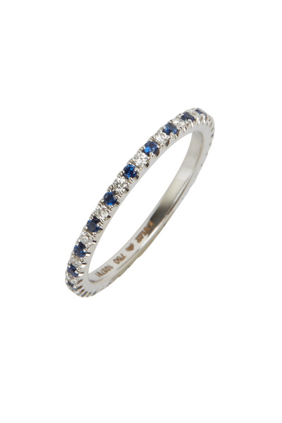 Kwiat - White Gold Blue Sapphire White Diamond Stack Ring