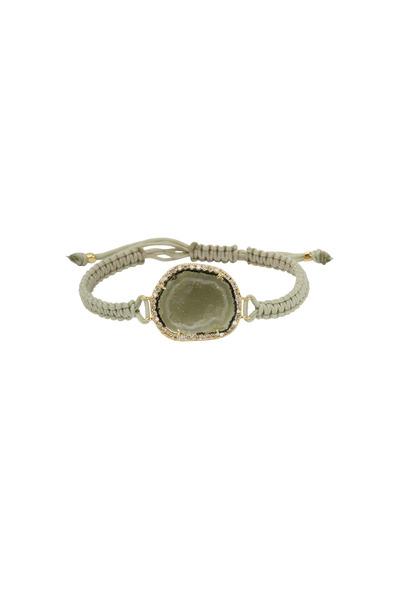 Kimberly McDonald - Gold Light Green Geode Diamond Macrame Bracelet