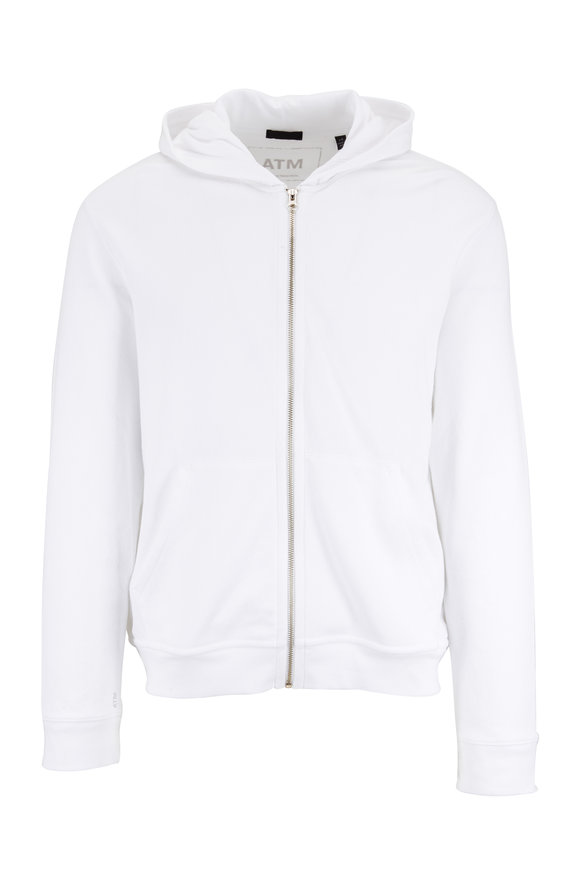 A T M White French Terry Zip Hoodie